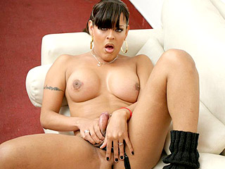 Sexy Shemale Playing with Her Cum